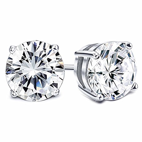 Sllaiss Set with Swarovski Zirconia 925 Sterling Silver Stud Earrings for Women Round-Cut 4-Prongs CZ 1.00cttw~8.00cttw Hypoallergenic (platinum-plated-silver, 2.00) ()