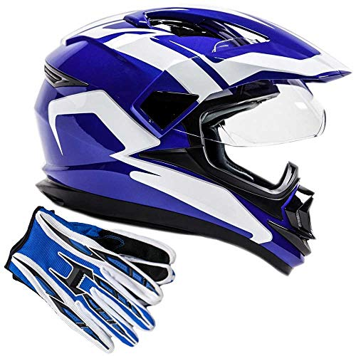 Dual Sport Helmet Combo w/Gloves - Off Road Motocross UTV ATV Motorcycle Enduro - Blue - XL