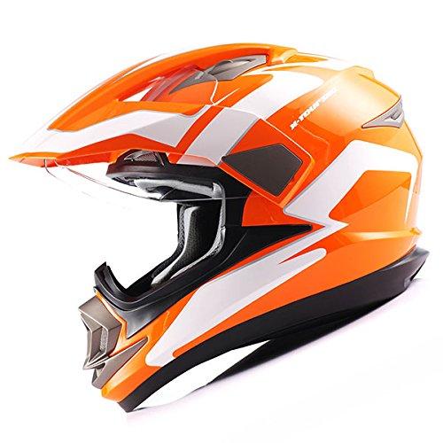 Dual Sport Helmet Motorcycle Full Face Motocross Off Road Bike Racing Orange White by 1Storm (Image #3)