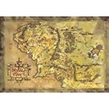 """The Lord Of The Rings / The Hobbit - Map Of Middle Earth - Limited Edition Metallic Dufex Movie Poster / Art Print (Size: 27"""" x 19.5"""") (Poster & Poster Strip Set)"""