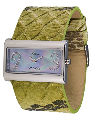 Moog Paris - Wild Origin - Women's Watch with gray mother of pearl dial, green strap in Genuine calf leather, made in France - M41636F-003