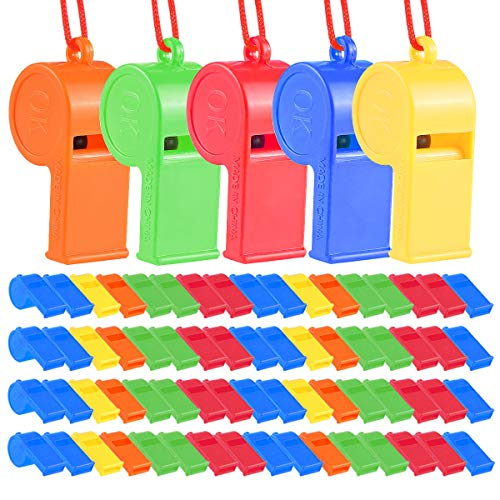 SWS 72Pcs Plastic Whistles, Training Sports Whistles with Lanyard, Loud Toys Whistles for Christmas Birthday Party Goody Bag Fillers Games Survival Emergency, 5 Brilliant Colors -