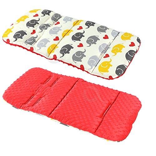 Red Elephants//Black Liner Covers 5pt Universal Reversible Cotton /& Minky Pram Insert