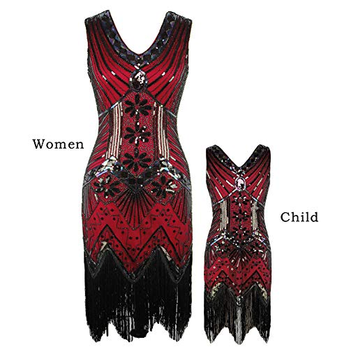 AMJM Parent-Child's 1920s Gastby Sequin Art Nouveau Embellished Fringed Flapper Dress (130, Wine Red) ()