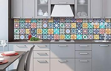 Küchenrückwand Folie selbstklebend AZULEJOS 260 x 60 cm | Klebefolie ...