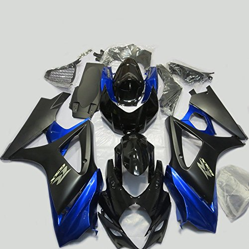 ABS Injection Molding - Deep Blue & Black Painted With Graphic Fairing Kit for SUZUKI GSXR 1000 K7 (2007-2008) ()