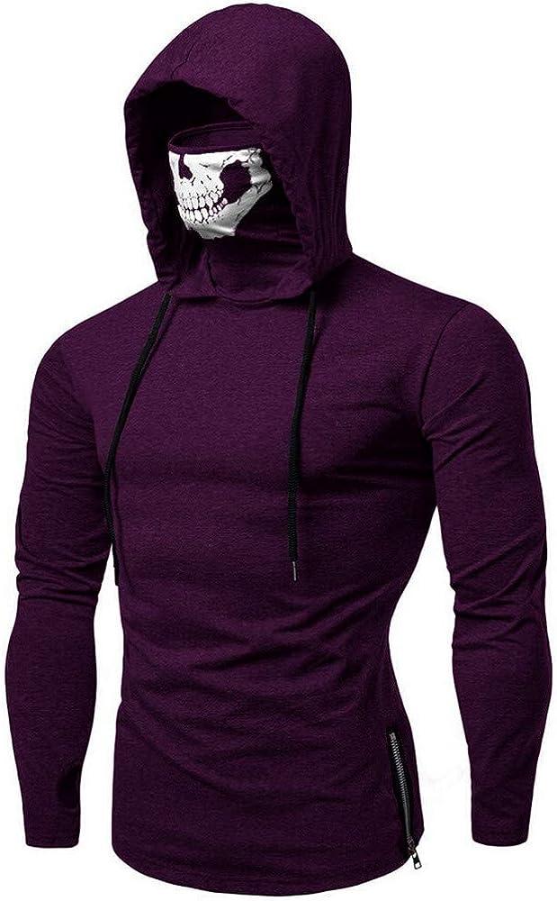 Mens Sweatshirt,Chaofanjiancai Mask Skull Pure Color Pullover Long Sleeve Hooded Casual Tops Blouse