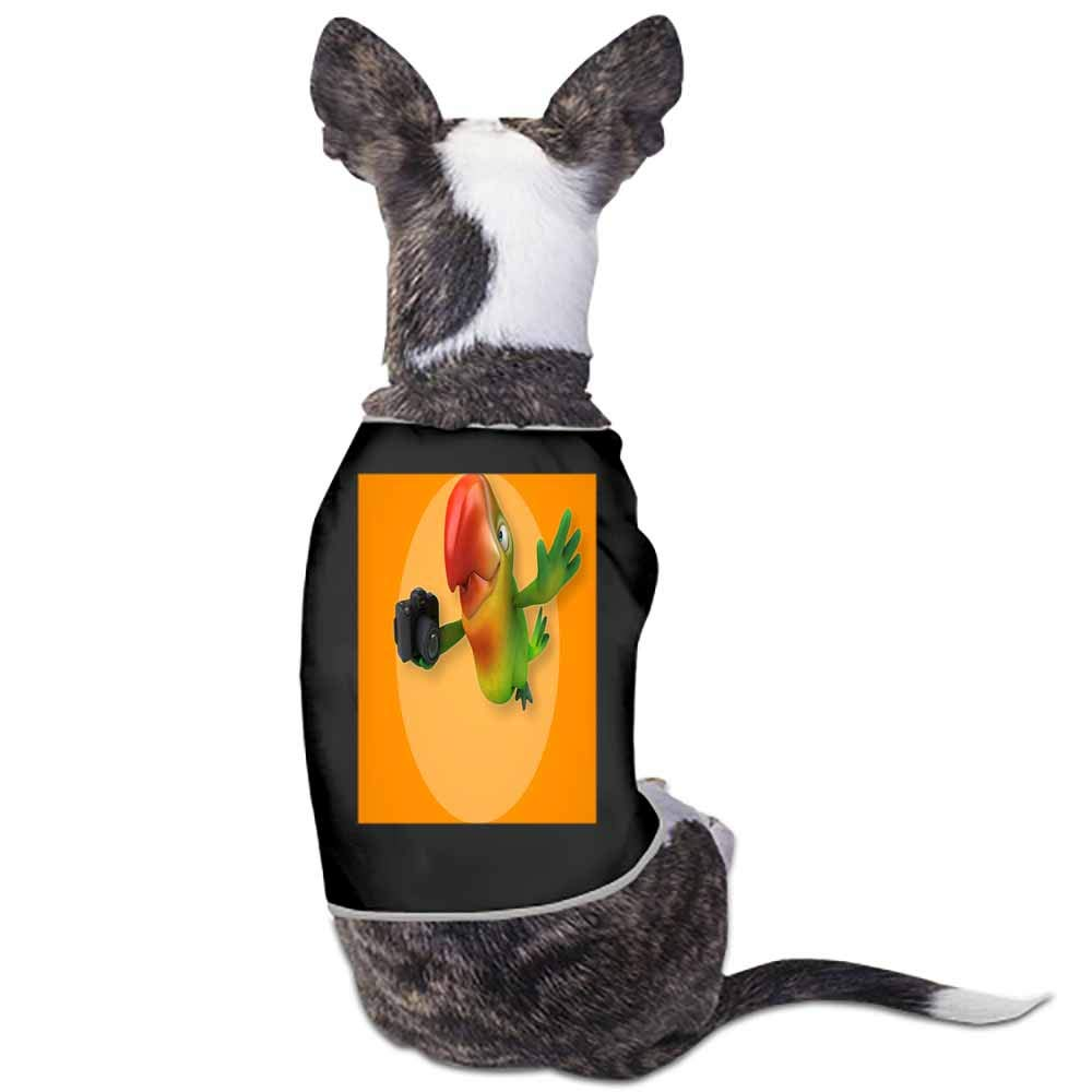 StyleDirect Dog Pajamas,Birds Parrots Camera Beak Colored Background Print Pet Clothes Jumpsuit Pjs Apparel (Black)-S