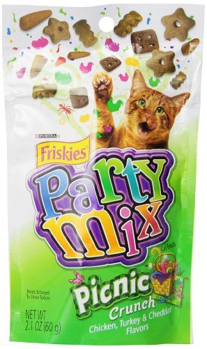 Friskies Party Mix Cat Treats, Picnic Crunch, Chicken, Turkey & Cheddar Flavors, 2.1-Ounce Pouch, Pack of 10 Turkey Cheddar