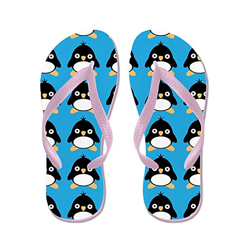 Cafepress Penguin Bird - Chanclas, Sandalias Thong Divertidas, Sandalias De Playa Rosa