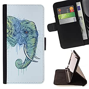 DEVIL CASE - FOR Sony Xperia Z1 Compact D5503 - Elephant Trunk Art Painting Wild Animal - Style PU Leather Case Wallet Flip Stand Flap Closure Cover