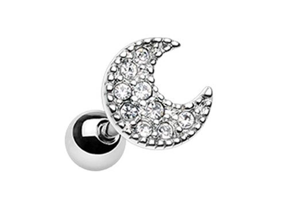 Forbidden Body Jewelry 18g 6mm Surgical Steel Moon Cartilage Stud Earring, Silver Tone