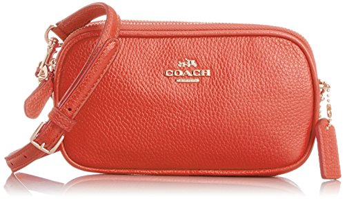 Coach Polished Pebbled Leather Crossbody Pouch Shoulder Bag 53034 Watermelon by Coach