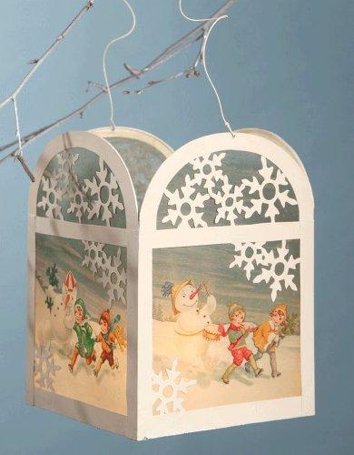 SNOWMAN TIN LANTERN Bethany Lowe vintage-style Christmas