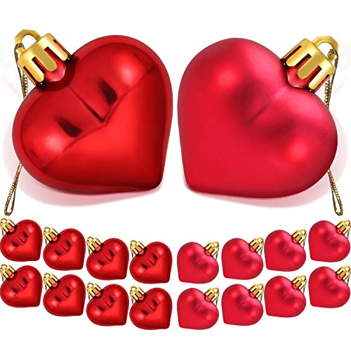 TecUnite 36 Pieces Heart Baubles Heart Shaped Decorations Valentine's Day Matt Heart Ornament for Home Party Decor, 2 Types ()