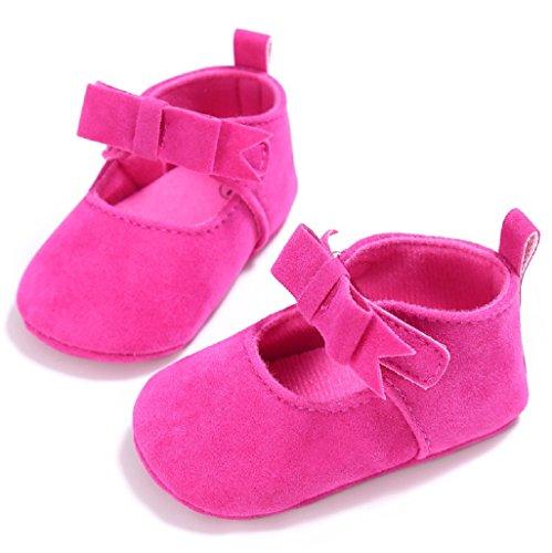 Auxma Zapatos de bebé,Zapatos de cuna de algodón para niños pequeños Soft Sole prewalker Rosa caliente