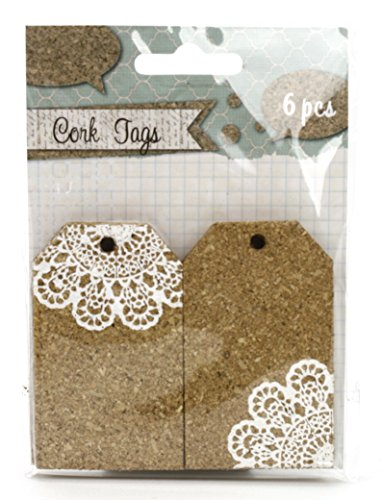 Kel-Toy Cork Tags with Lace Print- RNUM-Pack of 6 Total 1.9