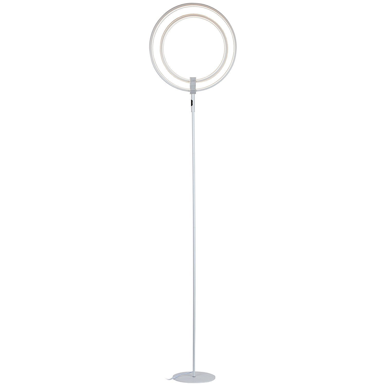 Brightech Eclipse LED Floor Lamp - Super Bright & Dimmable Modern Light For Living Room Or Office Tasks - Contemporary, Tall Standing Pole Lamps - Cool Look, Adjustable-Position Ring Lighting - Silver