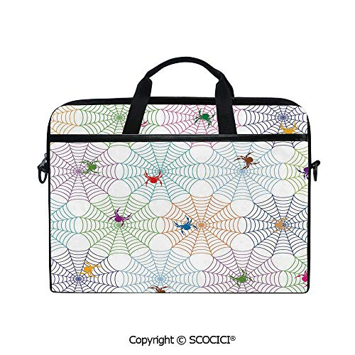 Personalized Laptop Bag 14-15 Inch Messenger Bag Colorful Networks and Characters Tile Design Graphic Art Cute Abstract Insects Decorative Shoulder Sleeve Case Tablet Briefcase