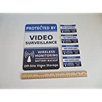 Video Surveillance Security Alarm System Yard Sign & 4 Window Stickers - Stock # 718