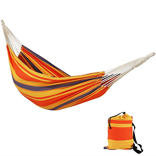Sunnydaze Premium Double Brazilian Hammock 100% Natural Tightly Woven Cotton, 450 Pound Capacity, Summer Breeze