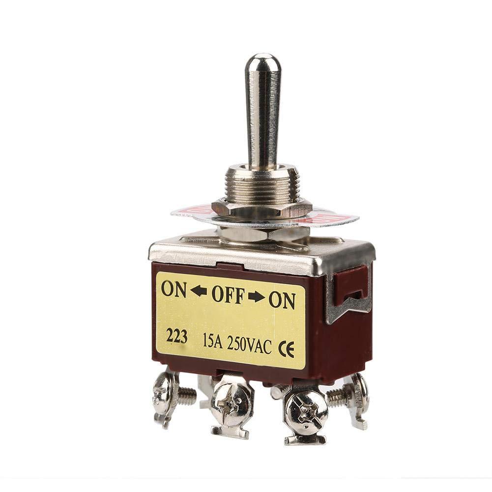 montaje de 12 mm AC 250V Interruptor de palanca moment/áneo de 3 posiciones ON-OFF-ON Interruptor de palanca de 6 pines