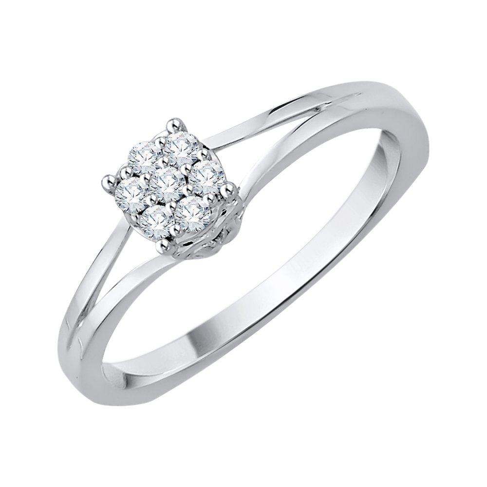 Diamond Cluster Ring in Sterling Silver (1/10 cttw) (GH-Color, I2/I3-Clarity) (Size-5)