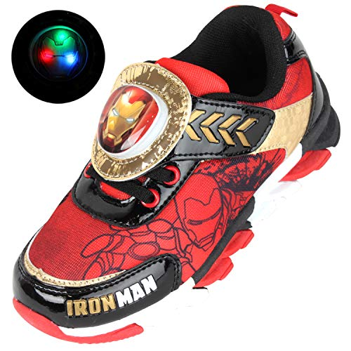 Joah Store Boy's Avengers Iron Man Light Up Shoes Red Black Gold Sneakers (Toddler/Little Kid) (13 M US Little Kid, Red) ()