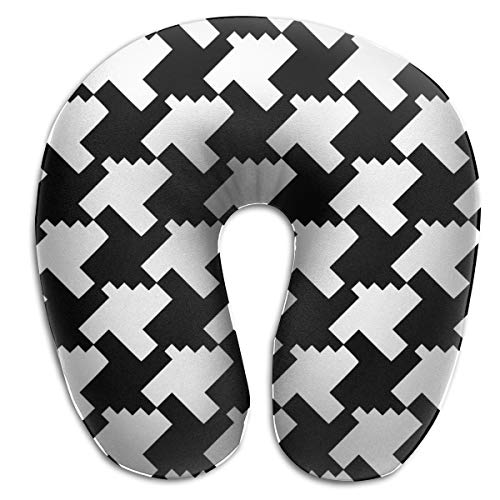 KopgLnm Houndstooth Black and White Neck Pillow Comfortable Soft Microfiber Neck-Supportive Travel Pillow for Home, Neck Pain