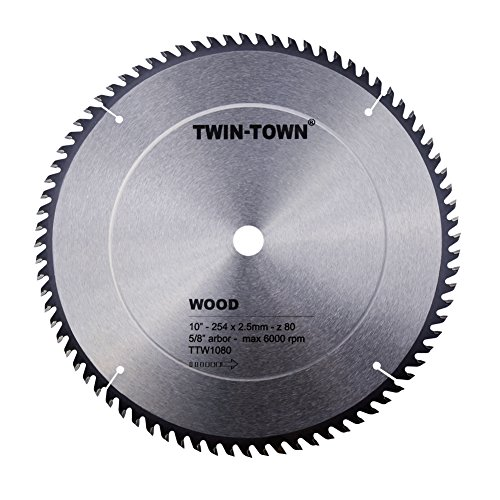TWIN-TOWN 10-Inch 80 Tooth ATB Fine Finish Saw Blade with 5/8-Inch (80t Atb Thin)