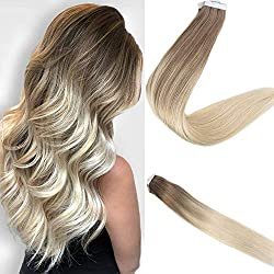 "Easyouth 16"" Invisible Glue In Hair Extensions Seamless Skin Weft Color #8 Ash Brown Fading To #60 Light Blonde Balayage Color Tape In Hair 50g 20 Pieces Per Pack Tape On Hair Extensions"