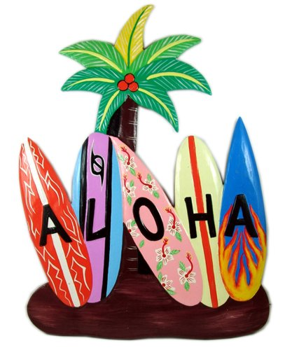 Alii of Hawaii Painted Wooden Aloha Wall Plaque with Surfboards & Palm Tree
