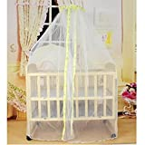 KateDy Baby Bed Net Mosquito Net Crib Tent Canopy Netting for Crib Cot,Round Yellow Cloth Edge Curtain,Canopy for Bed,Round Insect Fly Screen,Insect Protection Repellent Shield