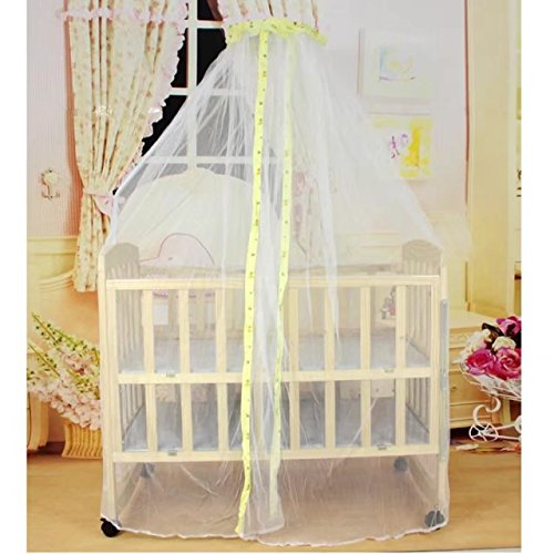 KateDy Baby Bed Net Mosquito Net Crib Tent Canopy Netting for Crib Cot,Round Yellow Cloth Edge Curtain,Canopy for Bed,Round Insect Fly Screen,Insect Protection Repellent Shield by Katedy
