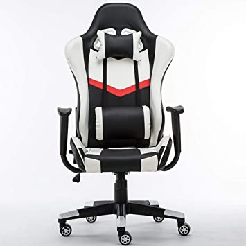 Silla Racing Gaming Girar Malla Espalda Alta Ergonómico Café Internet Elevador reclinable Cuero Masaje Lumbar Video Game Office Deluxe Computer Chair, ...