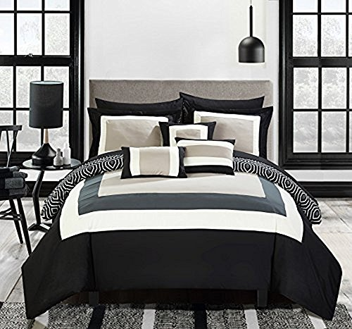 Chic Home Jake 10 Piece Comforter Set Reversible Hotel Collection Color Block Geometric Pattern Print Design Bed in a Bag Bedding – Sheets Decorative Pillows Shams Included King Black