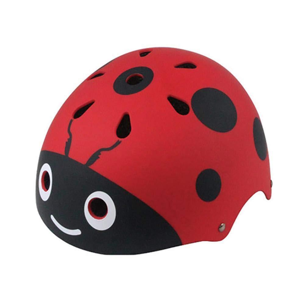Drgger Kinderhelm - Kinder Nette Schutzausrüstung Hip-Hop Skate Fahrrad Balance Auto Schutzhelm, Marienkäfer Geformt Helm. (Blau Rosa und Rot)