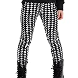 Aivtalk Big Girls Spring lovely Cotton Houndstooth Print Legging Pants Tight for 7-8 Years Old White