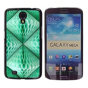 TopCaseStore / la caja del caucho duro de la cubierta de protección de la piel - Lantern Teal Green 3D Art Polygon - Samsung Galaxy Mega 6.3 I9200 SGH-i527