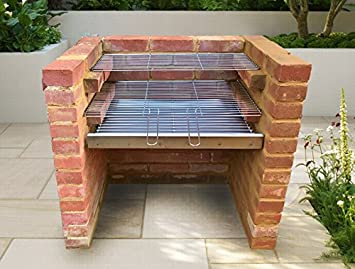 SunshineBBQs - Kit de barbacoa de ladrillo de acero inoxidable (67 cm x 40 cm), diseño de parrilla: Amazon.es: Jardín
