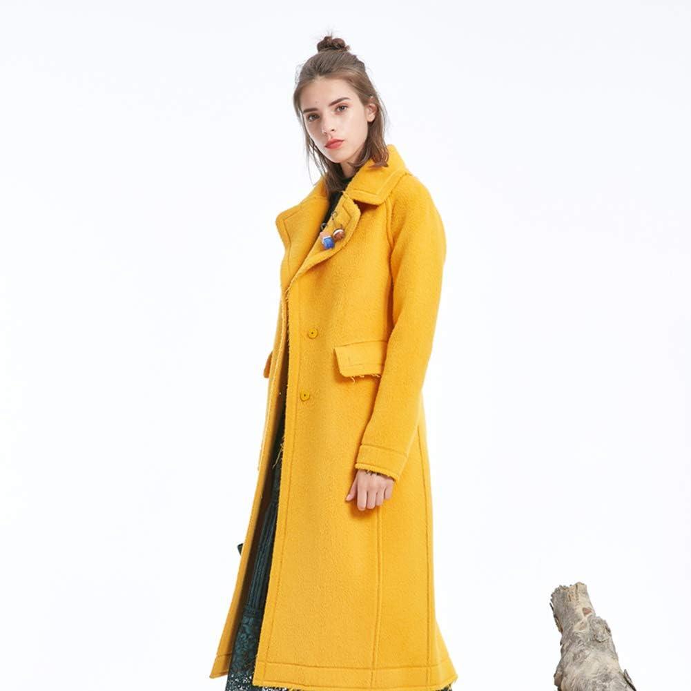 KABUYI Wool Long Overcoat for Women Long Sleeves Overcoat Yellow Green Slim Fit