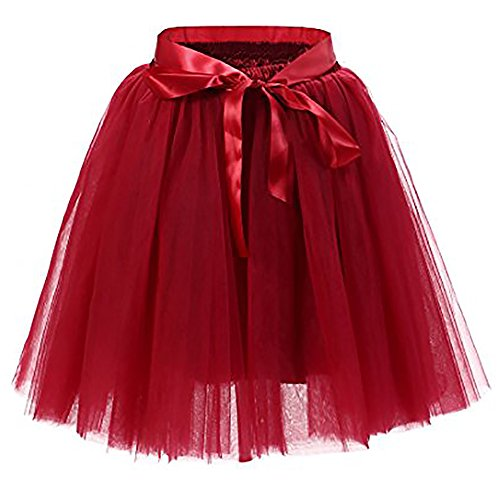 Women's High Waist Princess Tulle Skirt Adult Dance Petticoat A-line Wedding Party Tutu(Wine red),One Size