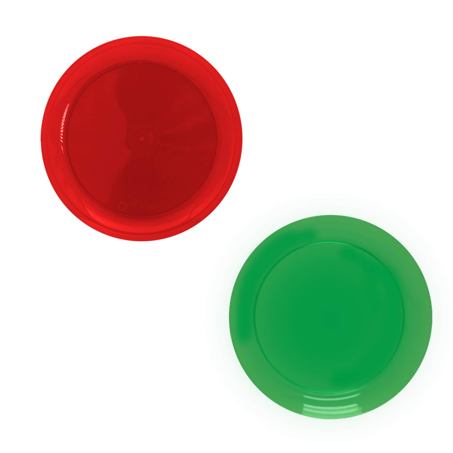 Party Essentials SD1224 Hard Plastic Red & Green Trays, Plastic, Red/Green (Pack of 36)