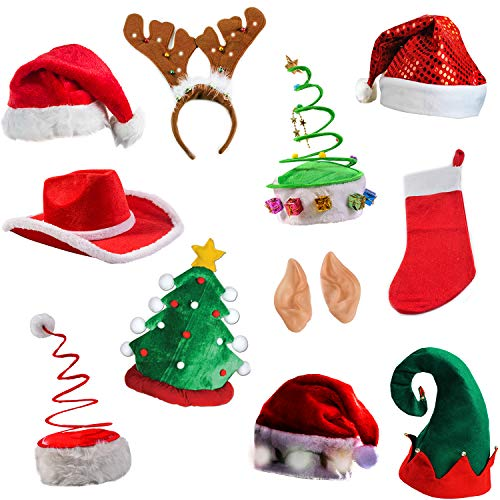 Tigerdoe Christmas Party Supplies - Christmas Photo Booth Prop - Christmas Costume Accessories - Christmas Headbands (5 Piece Photo Booth Prop Kit)