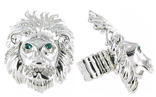 - Lion Face Stretch Cocktail Ring with Clear Crystals
