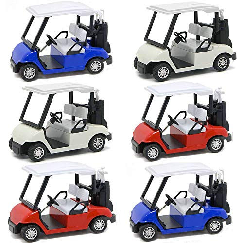 Liberty Imports 6 Pack Die-cast Metal Golf Cart Mini Model Toy 1:20 Scale Golfcart Pullback Vehicle (4.75 Inches)