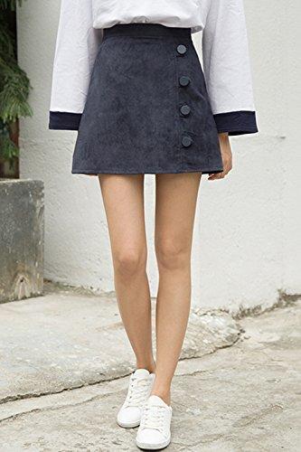 Autumn and winter the new A word skirt high waist skirt(Blue) - 6