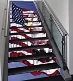 Stair Stickers Wall Stickers,13 PCS Self-adhesive,American Flag Decor,Bless America Flag in the Wind with Eagle Icon Double Exposure Citizen Image,Multi,Stair Riser Decal for Living Room, Hall, Kids R