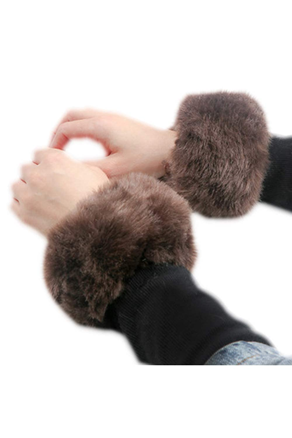 Women Fuax Fur Short Arm Warmer Wrist Cuffs Fingerless Gloves Girls UKzin8102525-Black-F