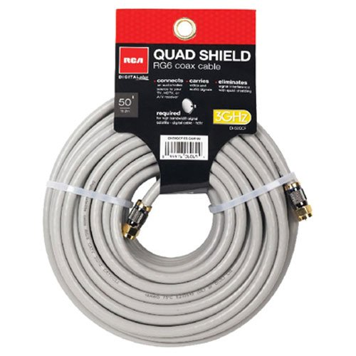 RCA 50-Feet Quad Shield Coax Cable (Rg6 Rca Quad Shield)